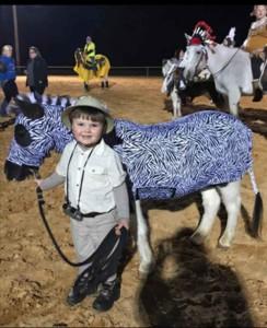 horse costume as zebra