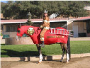 horse costumed as fire truck