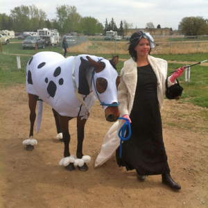 horse in dalmatian costuem