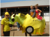 horse in taxi costume