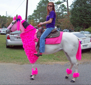 horse in hot pink poodle costume