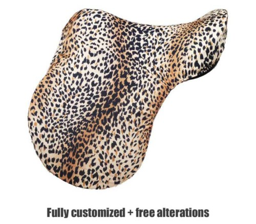 english saddle cover in leopard print