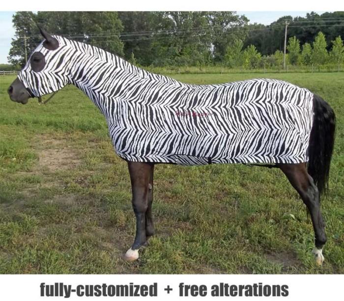 horse full body sleazy in zebra print