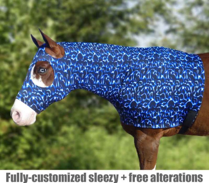 horse sleazy hood shown in blue flames print