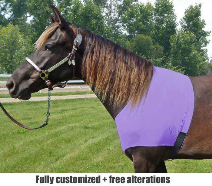 horse sleazy shoulder guard shown in lavender