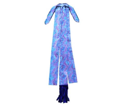 lycra braided tail wrap in a blue and purple glitter pattern