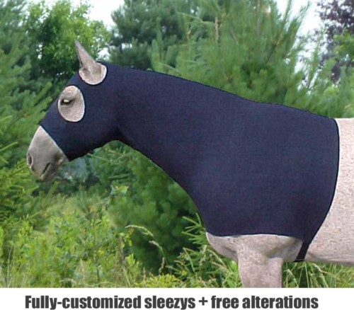 polar fleece horse hoods made from Polartec shown in navy blue
