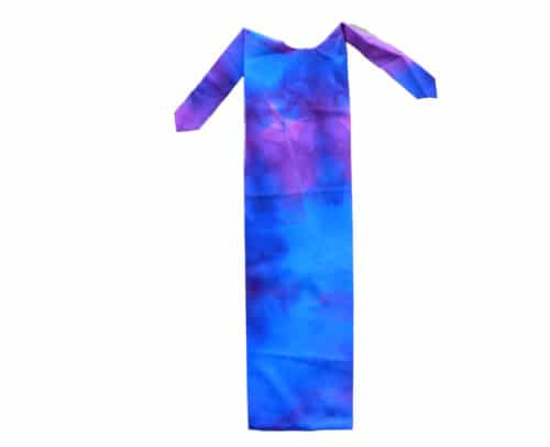 miniature horse tail bag in blue tie dye print