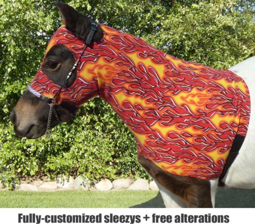 miniature horse lycra sleezy hood in a red hot flame pattern