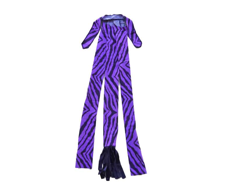braid in tail wrap in purple zebra print