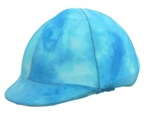 helmet covers in aqua tie dye