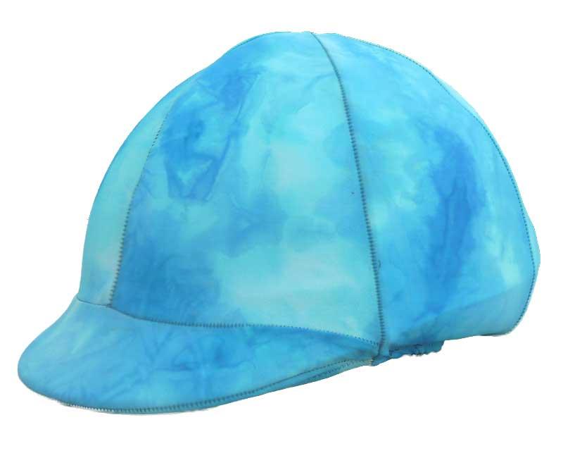 helmet covers in aqua tie dye