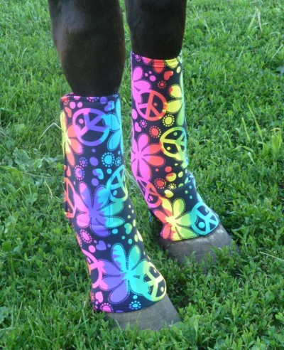 horse fast leg wraps, side view, in a multi-color hippie print