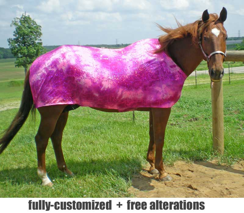 horse lycra stretch sheets shown in a hot pink foil