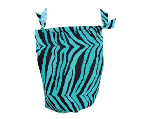 sleazy sack storage bag in teal blue zebra