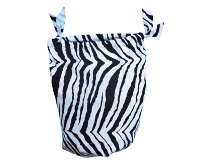 sleezy sack storage bag shown in zebra