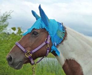 fly bonnet in blue print