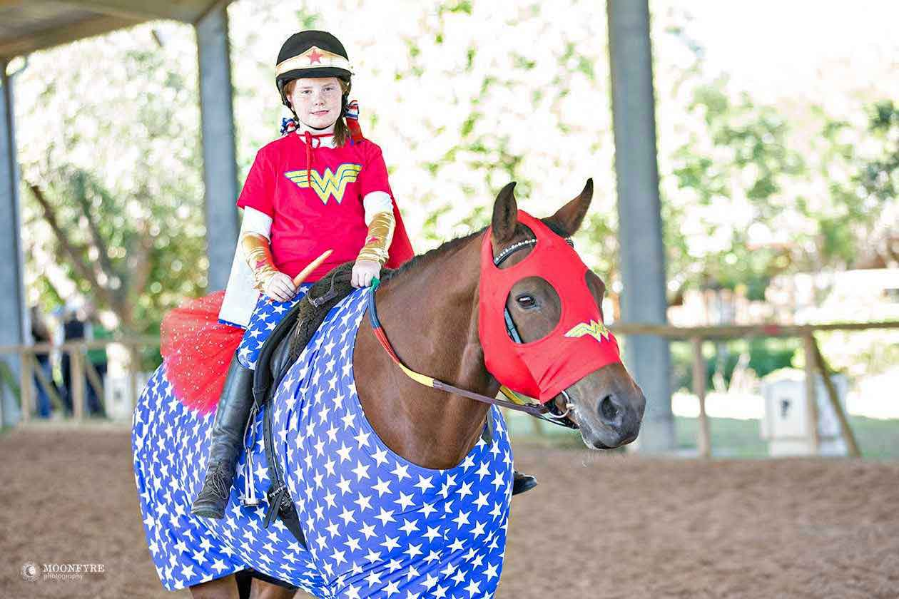 Horse costumes sleezy barb horsewear lisa purchased the american star body suit for her horse along with a red sleazy face mask she got the wonder woman logo decal on line and applied it solutioingenieria Image collections